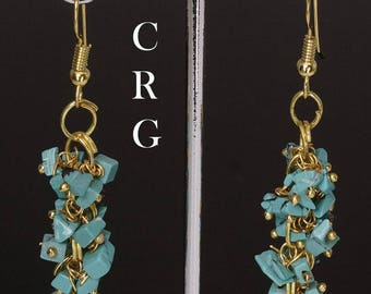 Gold Plated Turquoise Grape Cluster Earrings (GC25DG)