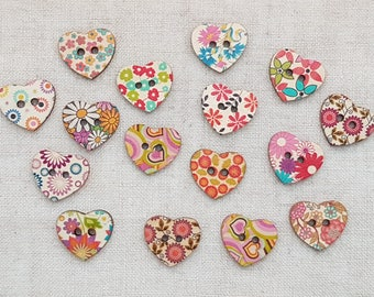 Heart Buttons X 5.  Floral Buttons. Valentines Buttons. 2 Hole Buttons. Wooden Buttons. Mixed Colours. UK Seller