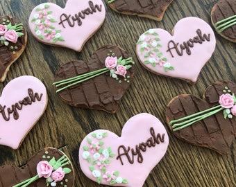 Baby Girl Rustic Wedding Shower Favor Cookies