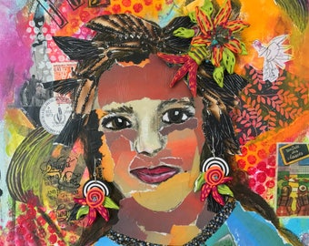 Joy - Mixed Media on Canvas with removable polymer clay jewelry, earrings & pendant, floral