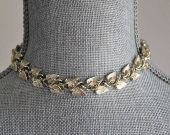 Gold Leaf Choker by Coro 14 Inch Simple Hook Clasp Necklace