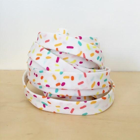"Art Gallery Fabrics Boardwalk Delight Rainbow Sprinkles 1/2"" double-fold cotton bias tape- 3 yard roll"