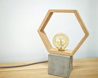 10% OFF Modern concrete wood hexagon table lamp, Modern lamp, Geometric lamp, Concrete, hexagon lamp, Desk lamp, Concrete light, Table lamp