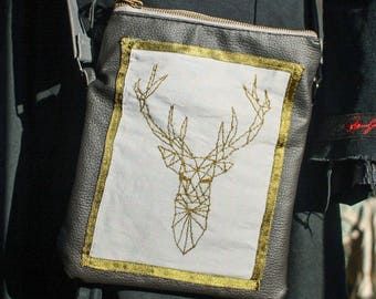 """My Deer"" embroidered bag, faux leather"