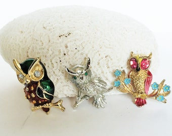Three Owl Brooches, Pins, Coro, Monet Enamel Vintage  Designer Signed