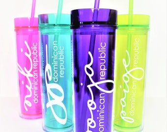 Set of 3 Skinny Tumblers // Vacation Cups // Girl's Weekend Cup // Beach Cup // Pool Tumbler // Bachelorette Party Cup // Bridesmaid Tumbler