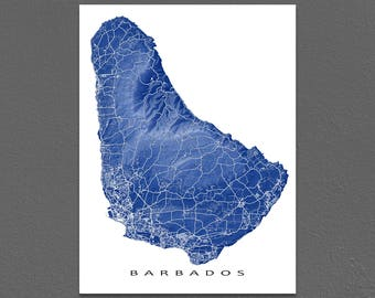 Barbados Map Print, Barbados Art, Caribbean Island Map Artwork