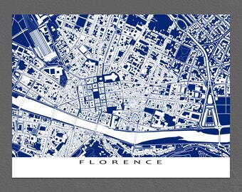 Florence Map Print, Florence, Italy, City Maps, Blueprint Art