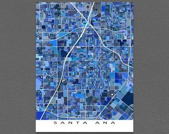 Santa Ana Map Print, Santa Ana California City Art Poster, USA