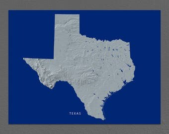 Texas Map, Texas Wall Art, TX State Art Print, Landscape, Navy Blue