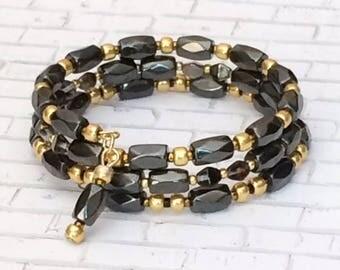 Beaded Black Memory Bracelet Hematite Black Bead Wrap Memory Wire Bracelet Black Gold Beaded Cuff Bracelet Stack Layer Bangle Bracelet Gift