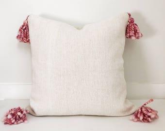 Tassel Pillow Cover, Ivory, Ethnic, indian, Handwoven, Boho Pillow