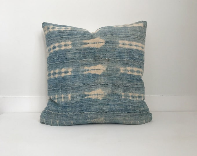 African Indigo Pillow Cover, Ethnic, Vintage, Blue, Boho Pillow