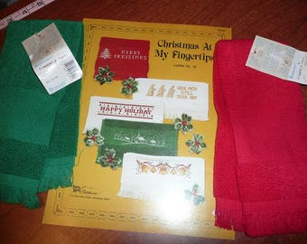 Charles Craft Fingertip Cross Stitch Towels,Christmas At My Fingertips Pattern Leaflet