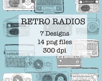 Retro Vintage Radio Drawings