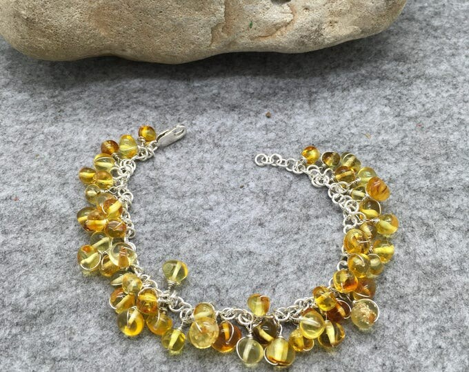 Handcrafted Sterling Silver and Amber Nugget Bracelet.