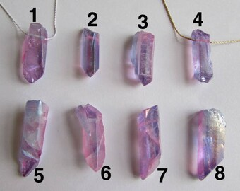 Raw Purple Titanium Quartz Crystal Necklace Sterling Silver Gold Filled Custom Made Necklace Choker Length + Gift Bag Free UK Delivery PQ1