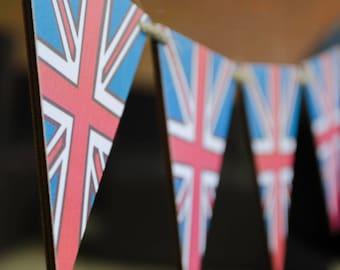 Wooden Union Jack Bunting, British Flag Bunting, UK Bunting, British Bunting