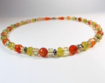 Carnelian citrine serpentine necklace