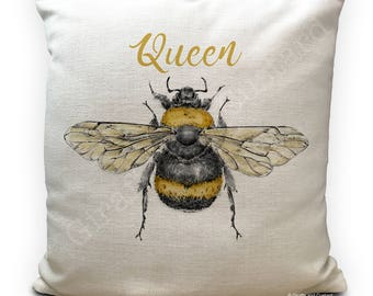 Bee Cushion Pillow Cover - Queen Bee - Honey Bumble Bee vintage Illustration artwork - Home Decor 40cm 16 inch