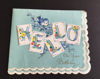 Vintage Birthday Greeting Card, Hello & sparrow, scalloped edges