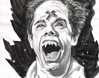 Fright Night Evil Ed inkwash drawing horror