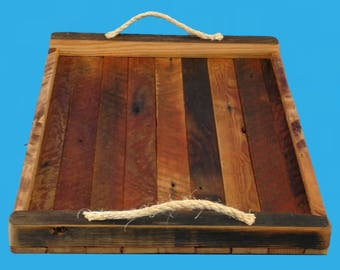 "reclaimed wood tray,lath strip tray from demolished building,12"" by 18"""