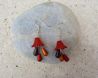 Flower drops and Red tulips earrings red and orange and chocolate