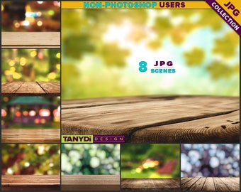 Empty Table Top OT-C2 | 8 JPG Close-up Wood Table Scene | Outdoor Nature Blur Background | Product Display Scene Creator