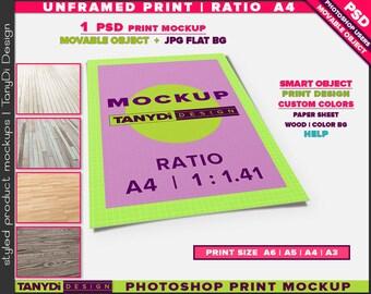 Unframed Print A4 Ratio 1.41 PSD Mockup | Movable Empty Portrait Print UFP-A4-P | Wood Floor | A6 | A5 | A4 | A3