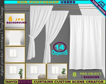 Long Curtain & Drapery Custom Scene Creator SC-LC-M1 | Non-Photoshop | Display wall | Window area Sofa Plant | PNG Curtains Metal rods