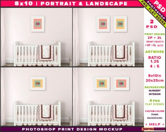 Nursery Interior Photoshop Print Mockup 810-N1 | Portrait & Landscape Set of 2 White Frames | White crib | Smart object Custom colors
