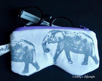 Elephants Glasses case. Handmade.