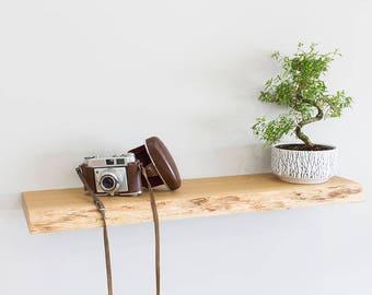 Oak Wall Shelves 200mm Deep | Waney Edged Solid Oak Floating Shelf in a Range of Sizes | Including Floating Shelf Fixings