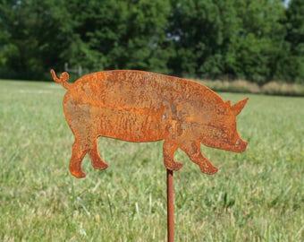 Metal Pig Garden Stake, SHIPS FREE!!! Pig Garden Art, Flying Pig, Pig Yard Stake, Pig Garden Stake, pig farmhouse decor, garden marker