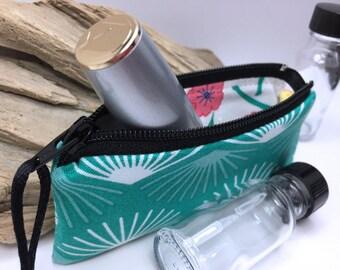 Green Fan Essential Oil Pouch, Lip Balm Case, Small Zipper Pouch, Lipstick Case, Essential Oil Bag, Doterra Oil Storage, Small Change Purse