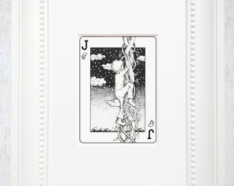 """Jack and the Beanstalk art, Jack and the Beanstalk print, Matted art, playing card jack, Fairytale matted print, giclee, """"The Jack of Beans"""""""