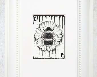 Bumblebee art, Bee art print, Bumblebee, pollinator, Ink drawing, Black and white, bee graphic, Matted art print, Playing card art,Queen Bee