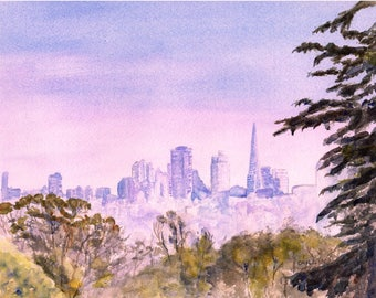 San Francisco Skyline, ORIGINAL Watercolor, 8x10 Landscape Painting, Transamerica Pyramid, California, Cityscape, Skyscraper, Downtown SF