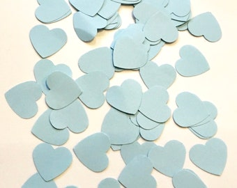 Blue confetti hearts hand punched small paper hearts