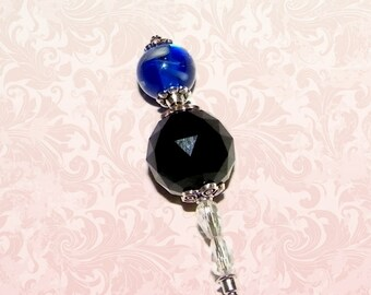 Hat Pin Vintage Blue Black Crystal Victorian Edwardian Vintage Style Glass Antique 6 Inch Steampunk Stick Lapel Pin With Protector