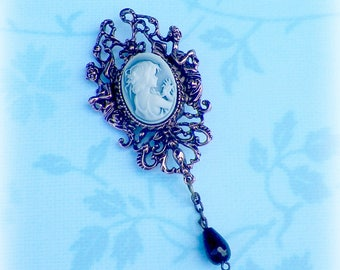 Brooch Pin Victorian Cameo Blue Classic Child Gothic Vintage Style Steampunk Antique Brass Style