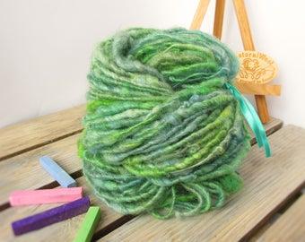 Handspun yarn Hand painted Corespun fleecespun Art yarn Hand dyed yarn Bulky chunky knitting yarn Organic wool Blue-Green yarn 104g/3,66 OZ