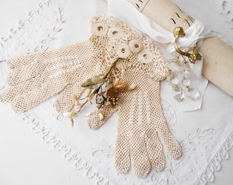 Antique French Lace Gloves Hand crocheted Ecru White