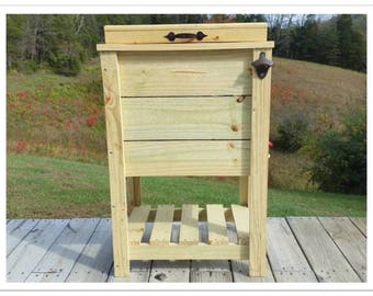 30 qt Cooler Tall Wood Ice Box Ice Chest