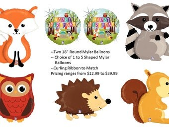 Woodland Creatures Birthday Mylar Balloons with Choice of Shaped Mylar Balloons