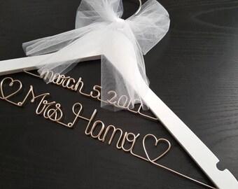 White 2 line wedding hanger / MRS Hanger/ Wedding dress hanger/ Bride hanger