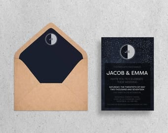 Moon and Stars Invitation Wedding Stationary