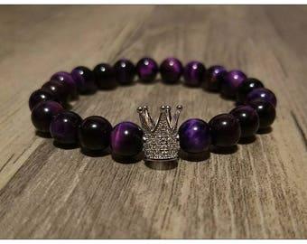 8mm Purple Tiger's Eye Crown Of Success Charm Bead Bracelet. Men's and Women's Mala Bracelet