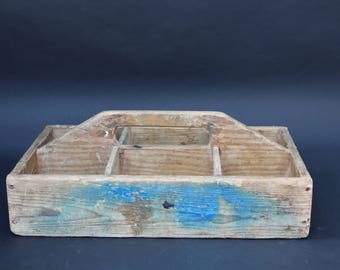 Vintage French Wooden Workmans Tool Box, Storage Box, Herb box